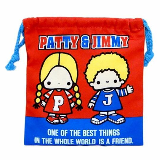 〔小禮堂〕Patty&Jimmy 棉質束口袋《紅藍.招手站姿》18x20cm.縮口袋.收納袋 0