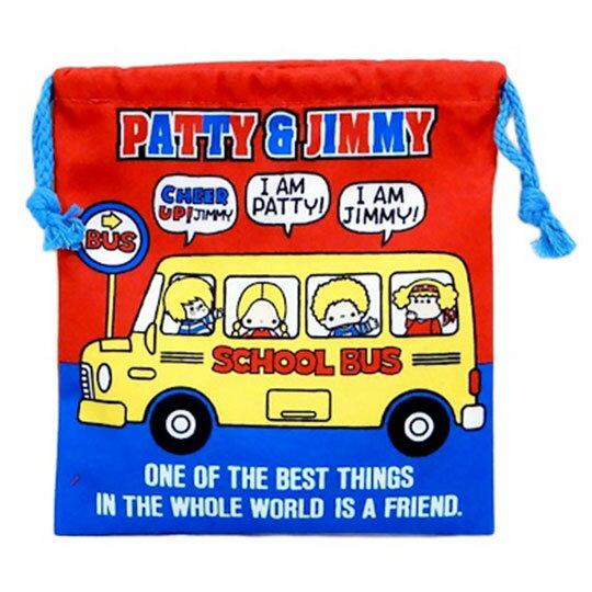 〔小禮堂〕Patty&Jimmy 棉質束口袋《紅藍.招手站姿》18x20cm.縮口袋.收納袋 1