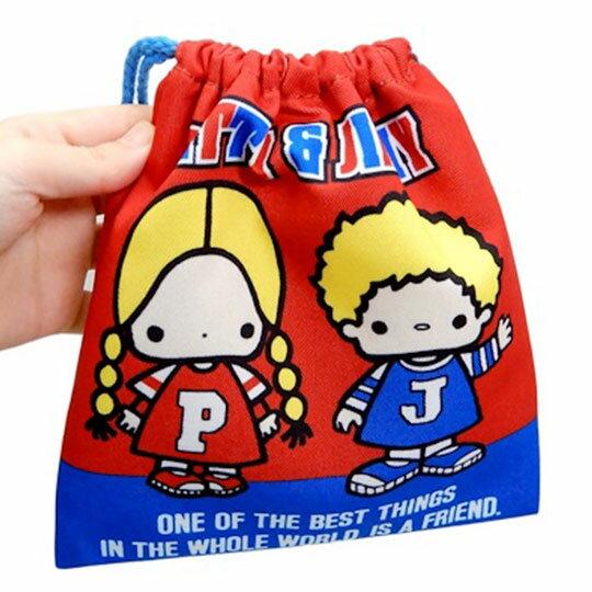 〔小禮堂〕Patty&Jimmy 棉質束口袋《紅藍.招手站姿》18x20cm.縮口袋.收納袋 2