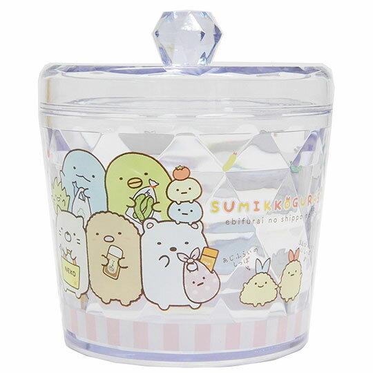 〔小禮堂〕角落生物 圓形壓克力拿蓋收納罐《粉白. 》置物罐.棉花罐.收納盒