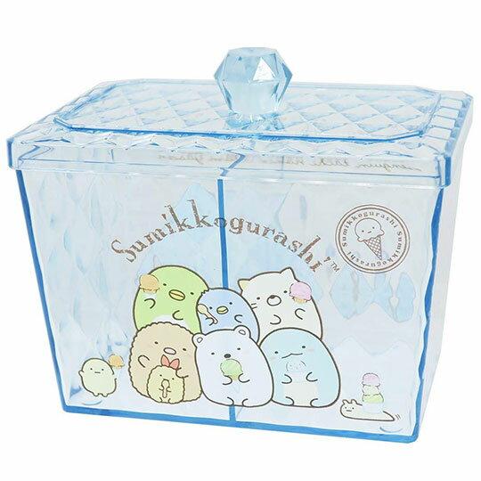 〔小禮堂〕角落生物 方形壓克力雙格拿蓋收納罐收納盒《藍.冰淇淋》糖果罐.置物罐