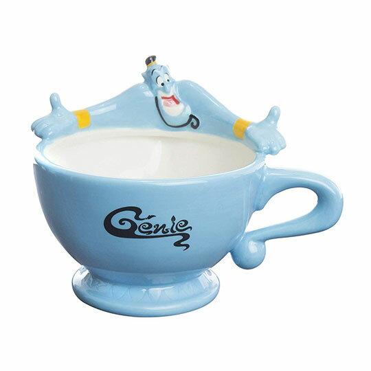 〔小禮堂〕迪士尼 阿拉丁神燈 造型陶瓷馬克杯《藍.張手》茶杯.咖啡杯 0