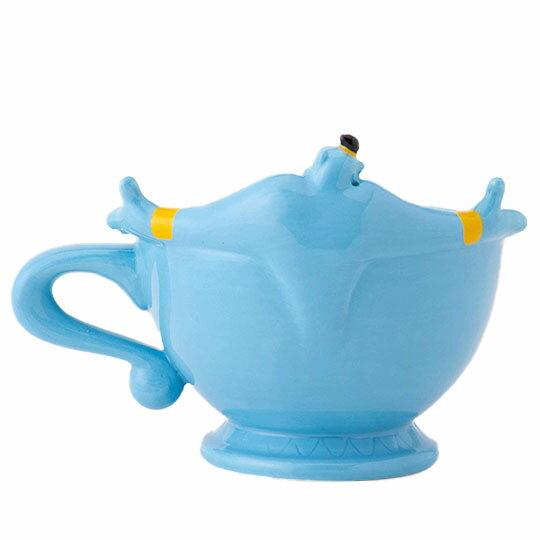 〔小禮堂〕迪士尼 阿拉丁神燈 造型陶瓷馬克杯《藍.張手》茶杯.咖啡杯 1