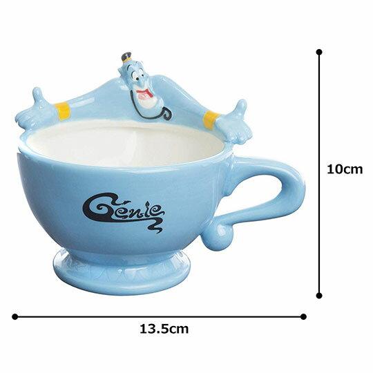〔小禮堂〕迪士尼 阿拉丁神燈 造型陶瓷馬克杯《藍.張手》茶杯.咖啡杯 4