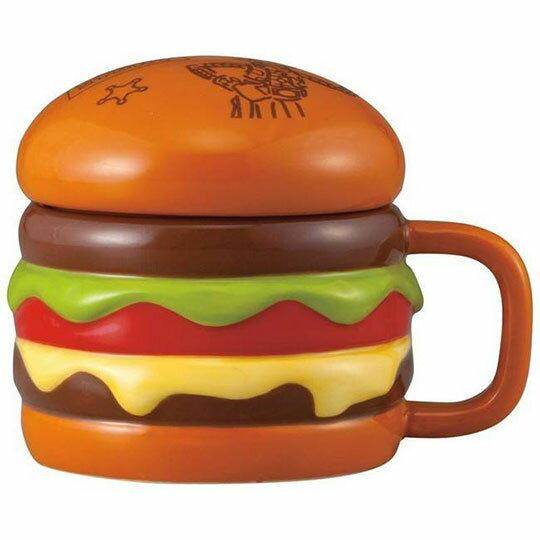 〔小禮堂〕迪士尼 玩具總動員 漢堡造型陶瓷馬克杯附蓋《棕》350ml.咖啡杯.茶杯 0