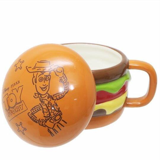 〔小禮堂〕迪士尼 玩具總動員 漢堡造型陶瓷馬克杯附蓋《棕》350ml.咖啡杯.茶杯 2