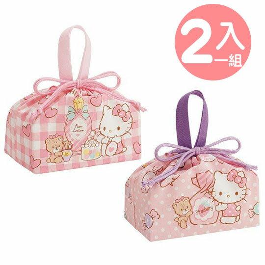 〔小禮堂〕Hello Kitty 棉質束口便當袋組《2入.粉.糖果罐》收納袋.縮口袋.手提袋 0