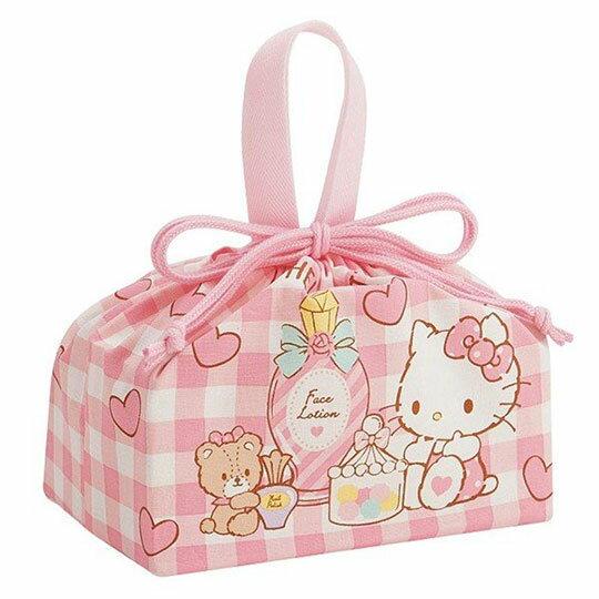 〔小禮堂〕Hello Kitty 棉質束口便當袋組《2入.粉.糖果罐》收納袋.縮口袋.手提袋 1