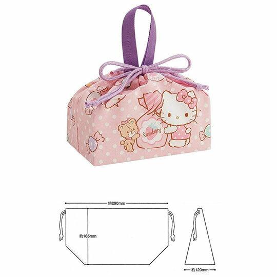 〔小禮堂〕Hello Kitty 棉質束口便當袋組《2入.粉.糖果罐》收納袋.縮口袋.手提袋 2