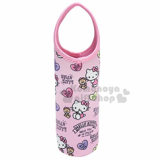 〔小禮堂〕Hello Kitty 潛水布水壺袋《粉.愛心小熊》水瓶袋.杯套
