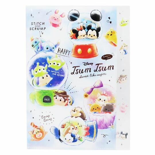 〔小禮堂〕迪士尼 TsumTsum 日製L型分類文件夾《A4.藍白.水晶球》資料夾.檔案夾.L夾
