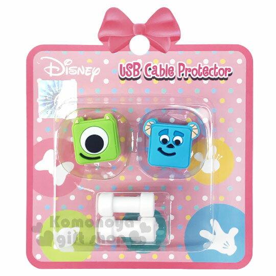 〔小禮堂〕迪士尼 怪獸大學 傳輸線保護套組《2入.綠藍.大臉》USB線套.充電線套