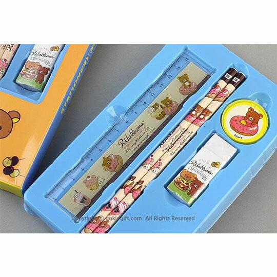 〔小禮堂〕懶懶熊 拉拉熊 四件式文具組禮盒《2款隨機.藍 / 黃》鉛筆.尺.橡皮擦.削筆器 1