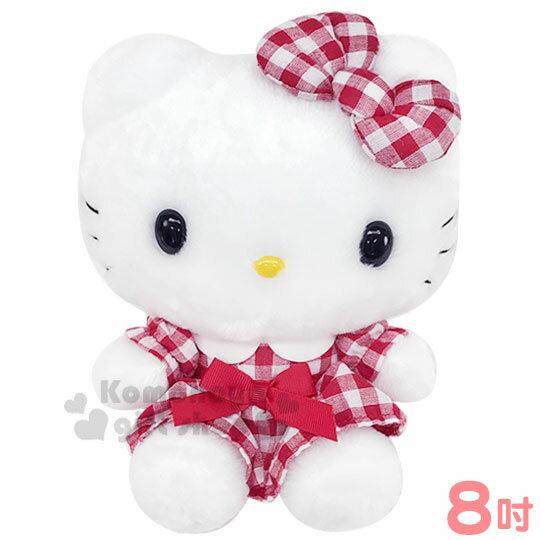 〔小禮堂〕Hello Kitty 絨毛玩偶娃娃《S.紅白.格紋洋裝》擺飾.玩具 0