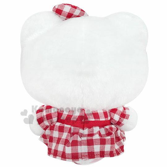 〔小禮堂〕Hello Kitty 絨毛玩偶娃娃《S.紅白.格紋洋裝》擺飾.玩具 1