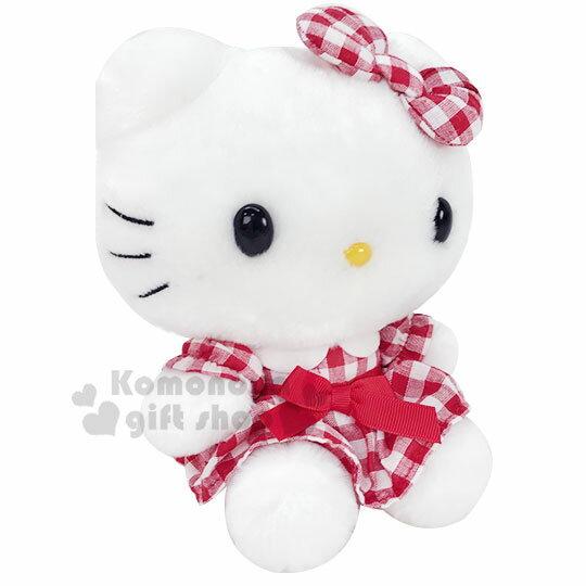 〔小禮堂〕Hello Kitty 絨毛玩偶娃娃《S.紅白.格紋洋裝》擺飾.玩具 2