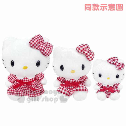〔小禮堂〕Hello Kitty 絨毛玩偶娃娃《S.紅白.格紋洋裝》擺飾.玩具 3