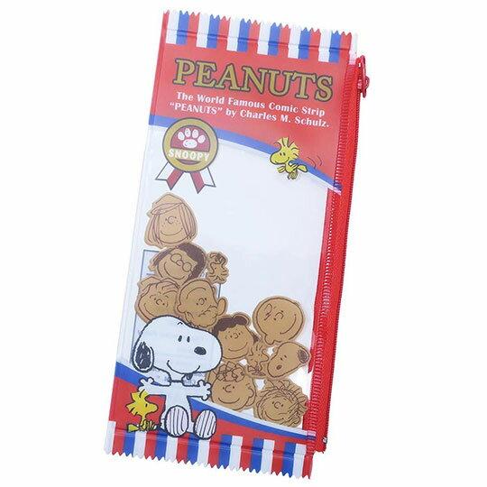 〔小禮堂〕史努比 餅乾袋 防水扁平拉鍊筆袋《紅藍》收納包.化妝包.鉛筆盒