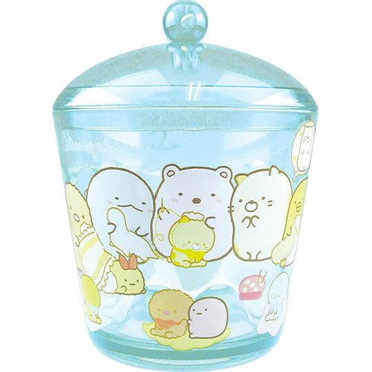 〔小禮堂〕角落生物 圓形壓克力拿蓋收納罐《透明藍.裁縫》置物罐.棉花罐.收納盒