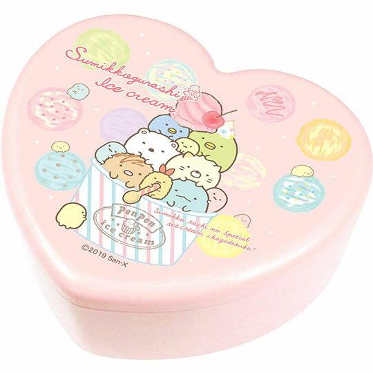 〔小禮堂〕角落生物 愛心 塑膠掀蓋收納盒附鏡《粉.冰淇淋》飾品盒.珠寶盒