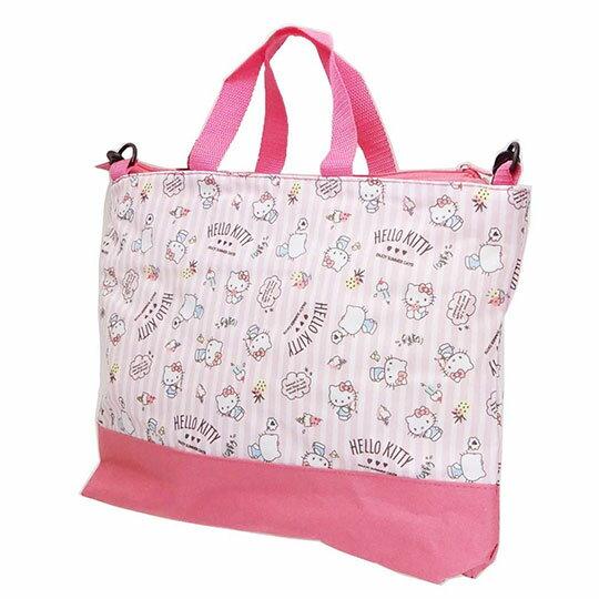 〔小禮堂〕Hello Kitty 尼龍橫式拉鍊斜背袋手提袋《粉.直紋》側背袋.肩背袋.書袋 1
