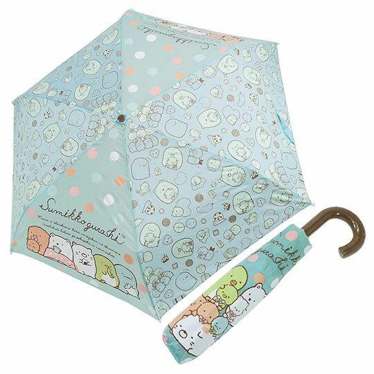 〔小禮堂〕角落生物 彎把防風傘骨折疊傘《綠棕.抱玩偶》折傘.雨具.雨傘 0