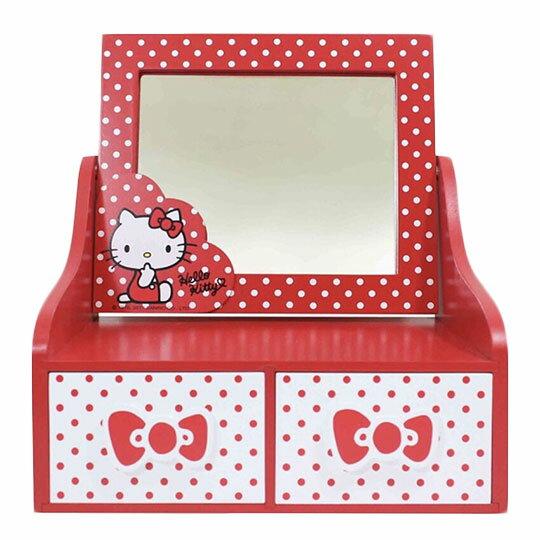 〔小禮堂〕Hello Kitty 木製桌上型化妝鏡雙抽收納盒《紅白.點點》抽屜盒.木製櫃.置物盒