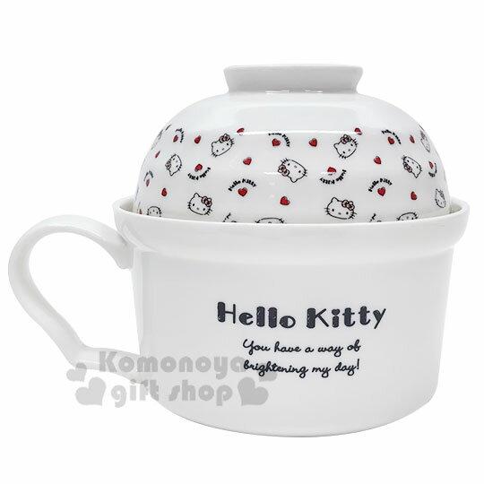 〔小禮堂〕Hello Kitty 陶瓷單耳碗蓋湯杯《紅白.大臉》泡麵碗.碗公 2