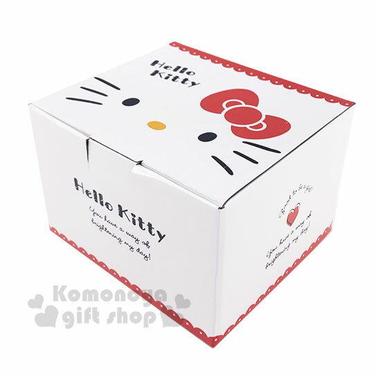 〔小禮堂〕Hello Kitty 陶瓷單耳碗蓋湯杯《紅白.大臉》泡麵碗.碗公 5
