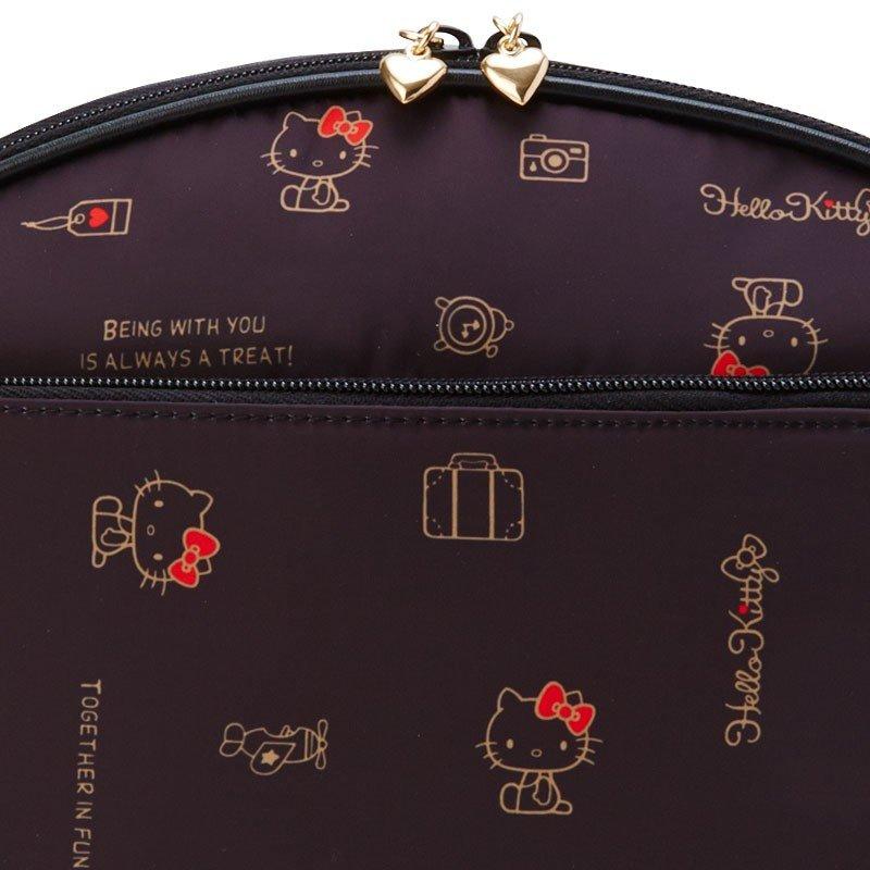 〔小禮堂〕Hello Kitty 尼龍半圓大容量化妝包《黑》收納包.盥洗包.2019旅行系列 3