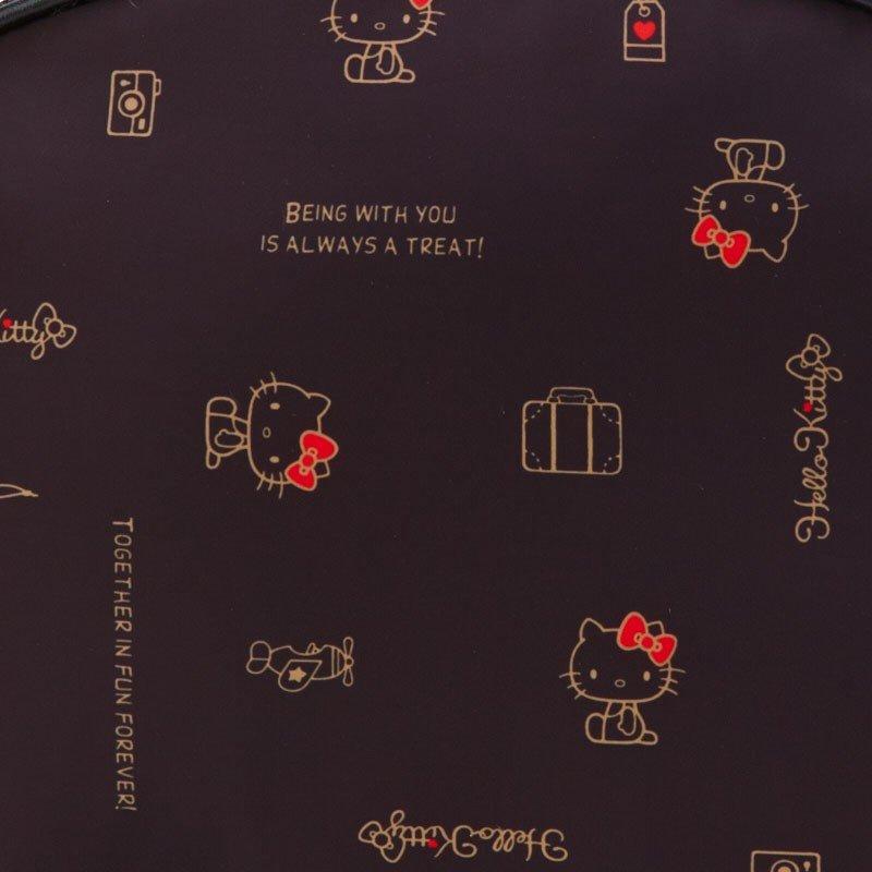 〔小禮堂〕Hello Kitty 尼龍半圓大容量化妝包《黑》收納包.盥洗包.2019旅行系列 4
