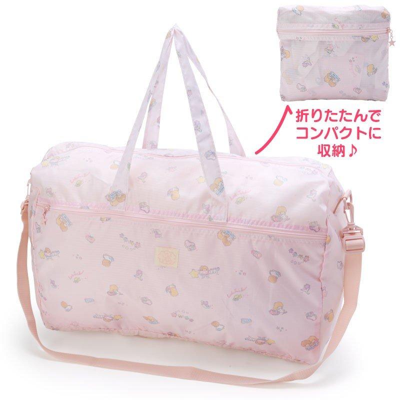 〔小禮堂〕雙子星 折疊尼龍拉桿行李袋《淡粉》旅行袋.收納袋.2019旅行系列 0
