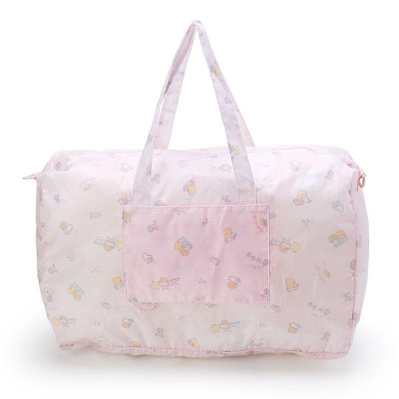 〔小禮堂〕雙子星 折疊尼龍拉桿行李袋《淡粉》旅行袋.收納袋.2019旅行系列 1