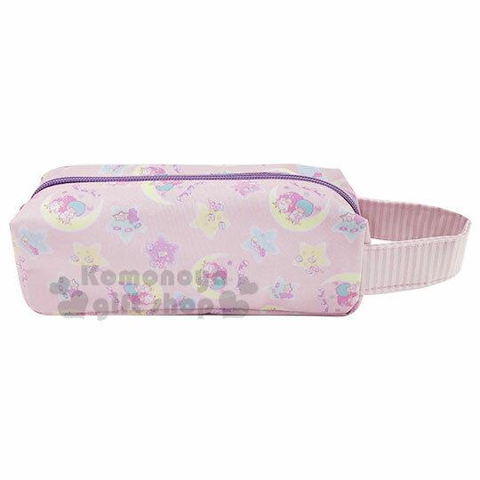 〔小禮堂〕雙子星 尼龍單側手提拉鍊筆袋《粉紫.坐月亮》收納包.鉛筆盒.化妝包