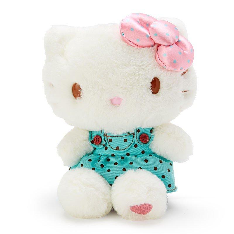 〔小禮堂〕Hello Kitty 絨毛玩偶娃娃《M.綠白》擺飾.玩具.薄荷巧克力系列 0