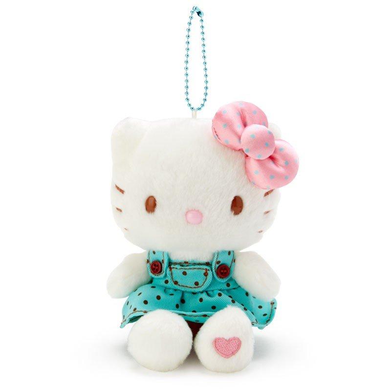 〔小禮堂〕Hello Kitty 絨毛玩偶娃娃吊飾《綠白》掛飾.鑰匙圈.薄荷巧克力系列 0