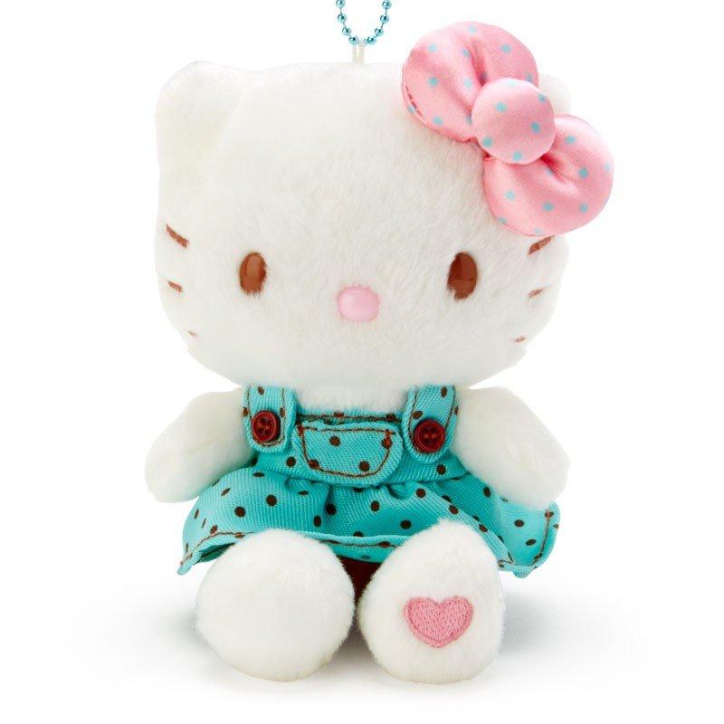〔小禮堂〕Hello Kitty 絨毛玩偶娃娃吊飾《綠白》掛飾.鑰匙圈.薄荷巧克力系列 1