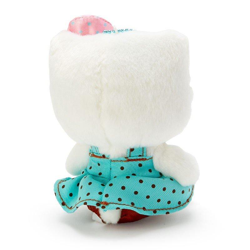 〔小禮堂〕Hello Kitty 絨毛玩偶娃娃吊飾《綠白》掛飾.鑰匙圈.薄荷巧克力系列 2