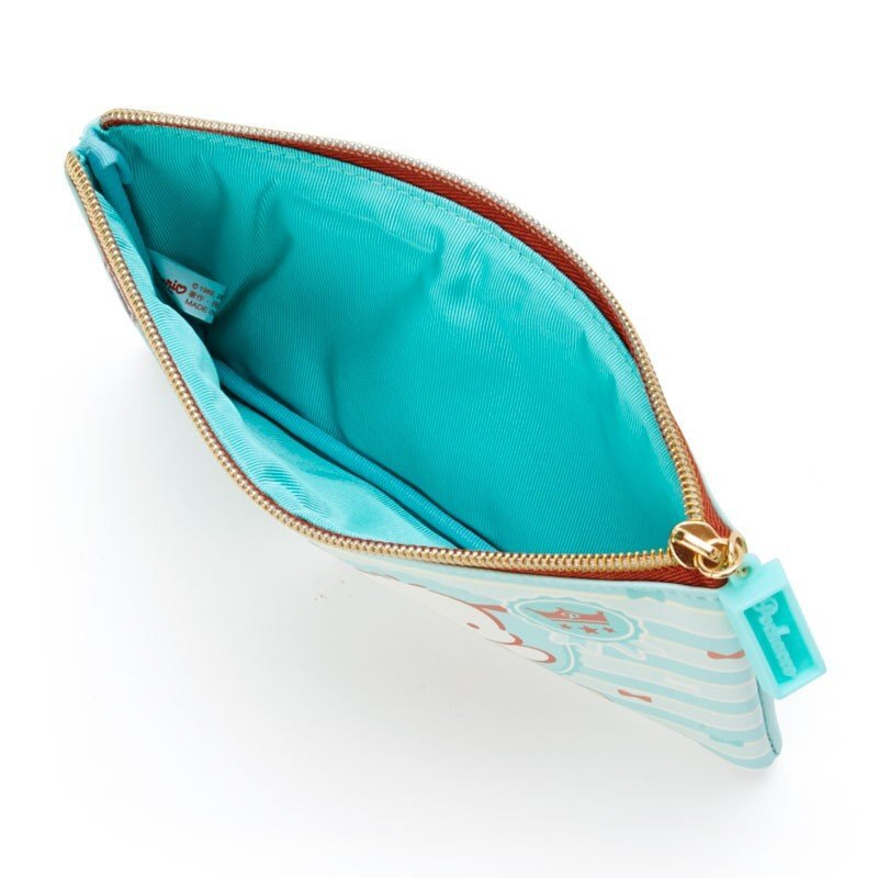 〔小禮堂〕帕恰狗 皮質扁平拉鍊化妝包《綠棕》收納包.筆袋.薄荷巧克力系列 2