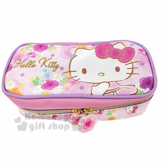 〔小禮堂〕Hello Kitty 緞面掀蓋拉鍊筆袋《粉紫.花朵》收納包.鉛筆盒.化妝包