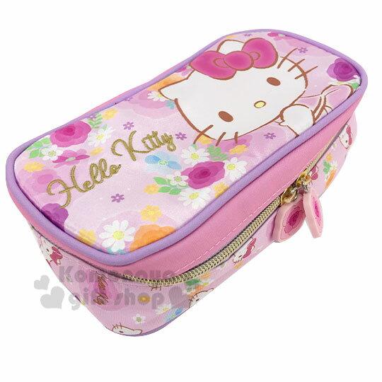 〔小禮堂〕Hello Kitty 緞面掀蓋拉鍊筆袋《粉紫.花朵》收納包.鉛筆盒.化妝包 1