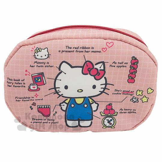 〔小禮堂〕Hello Kitty 厚棉橢圓化妝包《粉.角色分析》收納包.筆袋 0