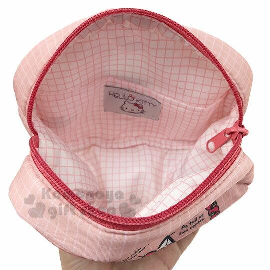 〔小禮堂〕Hello Kitty 厚棉橢圓化妝包《粉.角色分析》收納包.筆袋 2