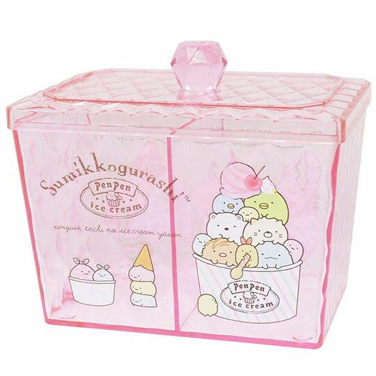 〔小禮堂〕角落生物 方形壓克力雙格拿蓋收納罐收納盒《粉.冰淇淋》糖果罐.置物罐