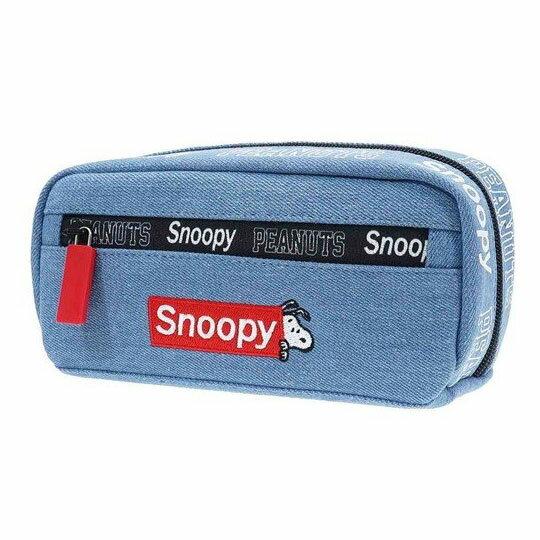 〔小禮堂〕史努比 牛仔布拉鍊筆袋《藍.紅框文字》收納包.化妝包.鉛筆盒