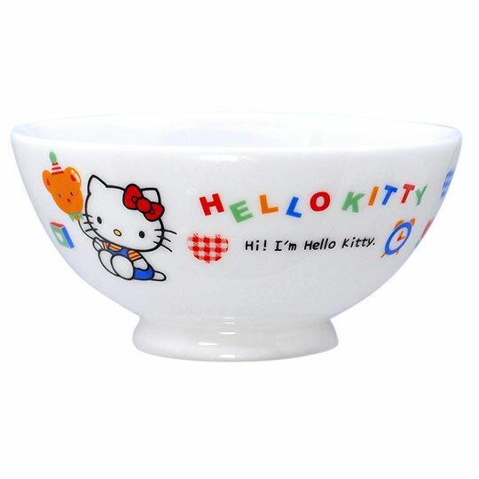 小禮堂 Hello Kitty 日製陶瓷碗《藍白.小熊汽球》飯碗.湯碗.金正陶器
