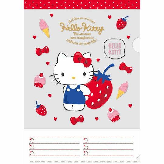 〔小禮堂〕Hello Kitty 日製L型文件夾《A4.白紅.草莓》資料夾.L夾.檔案夾