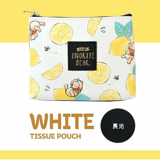 〔小禮堂〕迪士尼 小熊維尼 皮質帆布面紙零錢包《黃綠.檸檬》化妝包.面紙包 0
