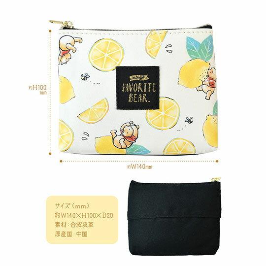 〔小禮堂〕迪士尼 小熊維尼 皮質帆布面紙零錢包《黃綠.檸檬》化妝包.面紙包 1