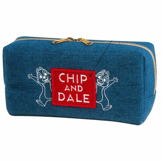 〔小禮堂〕迪士尼 奇奇蒂蒂 牛仔布拉鍊筆袋《藍.紅框文字》收納包.化妝包.鉛筆盒